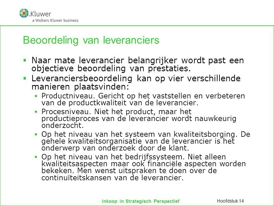 Inkoop in Strategisch Perspectief Beoordeling van leveranciers  Naar mate leverancier belangrijker wordt past een objectieve beoordeling van prestati