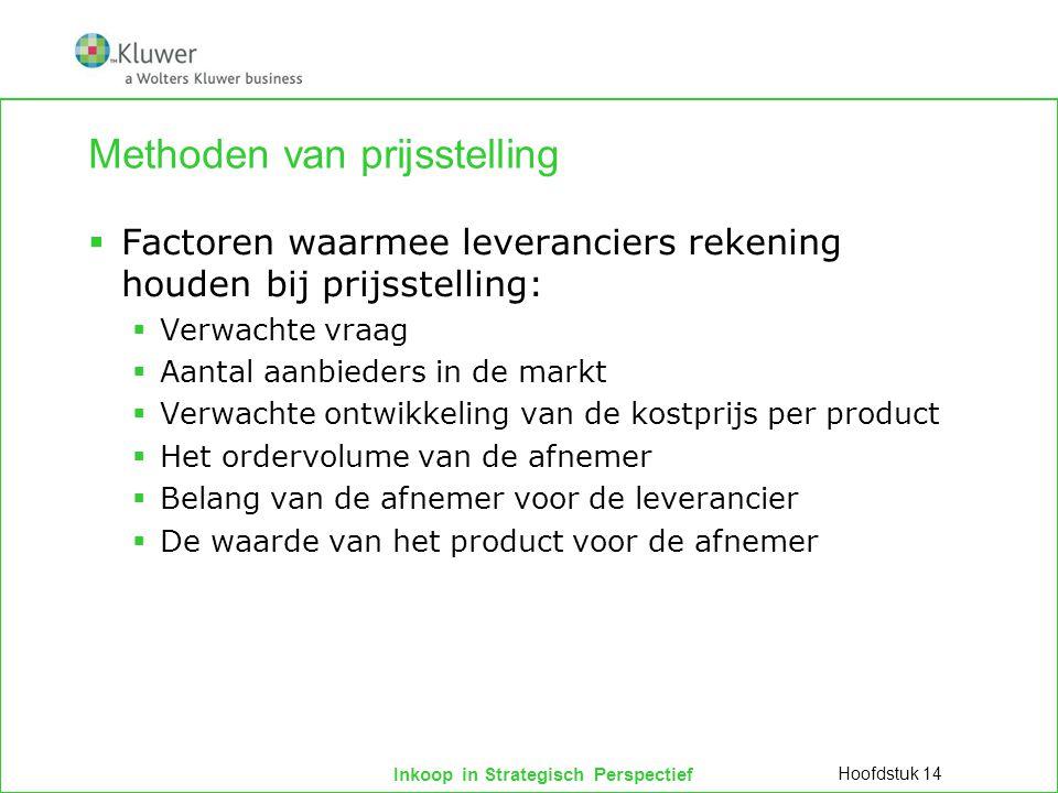 Inkoop in Strategisch Perspectief Methoden van prijsstelling  Factoren waarmee leveranciers rekening houden bij prijsstelling:  Verwachte vraag  Aa