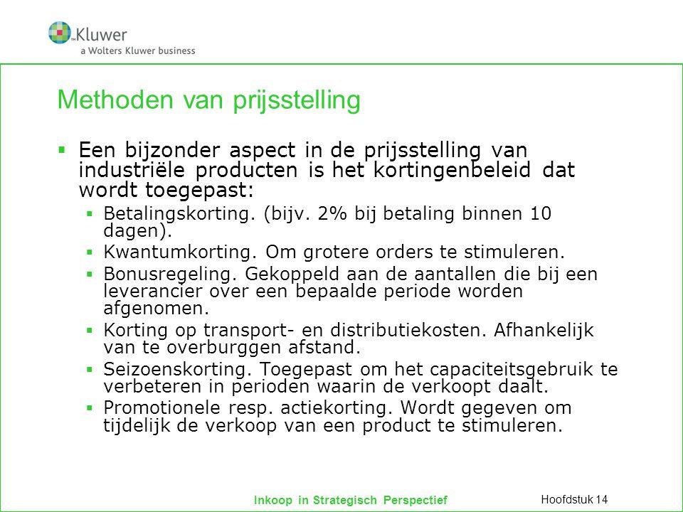 Inkoop in Strategisch Perspectief Methoden van prijsstelling  Een bijzonder aspect in de prijsstelling van industriële producten is het kortingenbeleid dat wordt toegepast:  Betalingskorting.