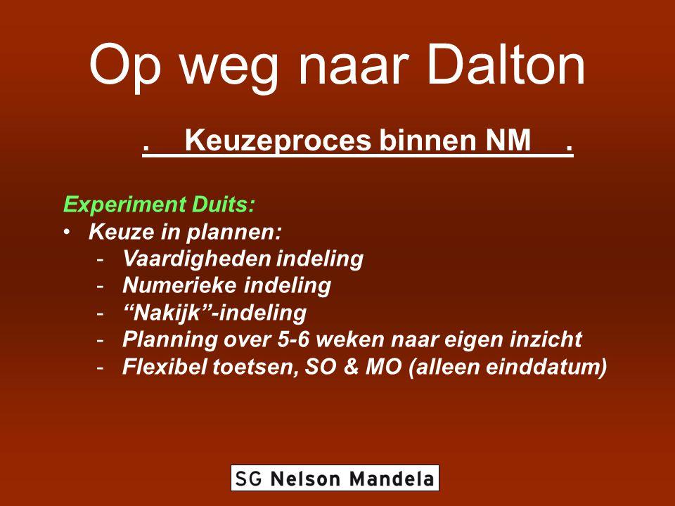 """Op weg naar Dalton. Keuzeproces binnen NM. Experiment Duits: •Keuze in plannen: -Vaardigheden indeling -Numerieke indeling -""""Nakijk""""-indeling -Plannin"""