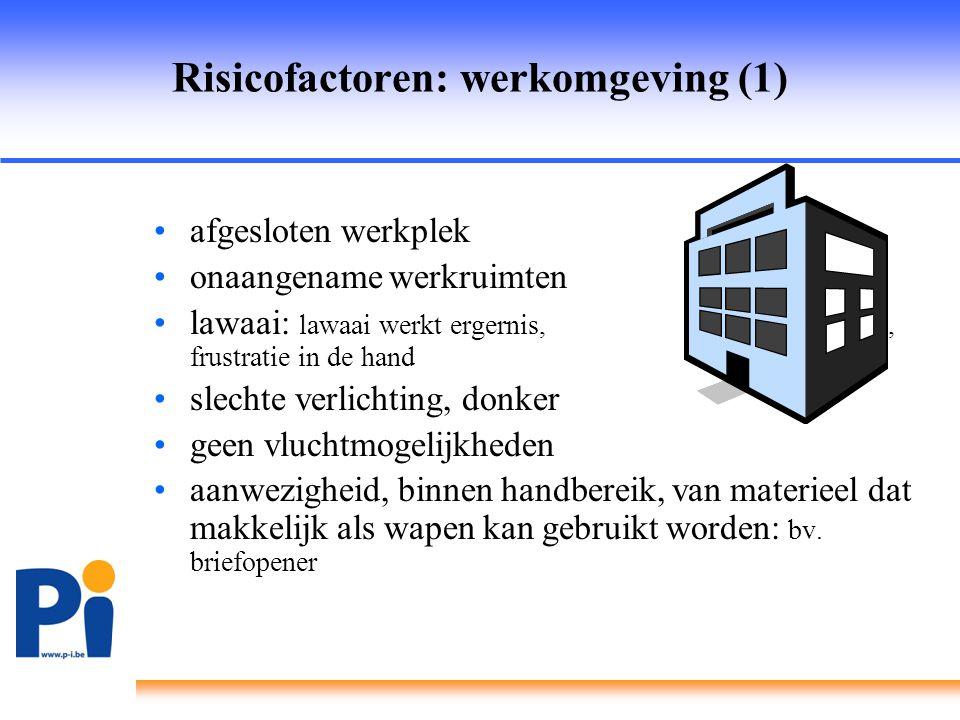 Risicofactoren: werkomgeving (1) •afgesloten werkplek •onaangename werkruimten •lawaai: lawaai werkt ergernis, stress, frustratie in de hand •slechte