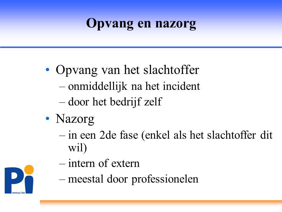 Opvang en nazorg •Opvang van het slachtoffer –onmiddellijk na het incident –door het bedrijf zelf •Nazorg –in een 2de fase (enkel als het slachtoffer