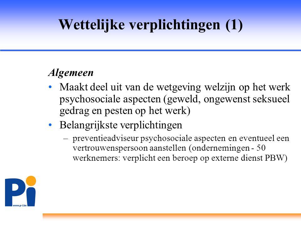 Wettelijke verplichtingen (1) Algemeen •Maakt deel uit van de wetgeving welzijn op het werk psychosociale aspecten (geweld, ongewenst seksueel gedrag