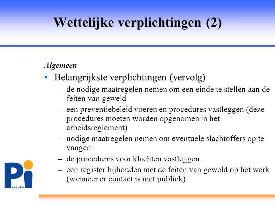 Wettelijke verplichtingen (3) Uitzendwerk •Voor uitzendkrachten staat de inlener in voor de verplichtingen inzake feiten van geweld die in zijn onderneming gebeuren •Wel een rol weggelegd voor het uitzendbureau bij de opvolging van deze feiten