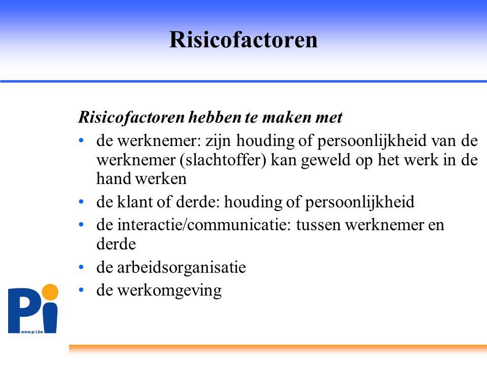 Risicofactoren Risicofactoren hebben te maken met •de werknemer: zijn houding of persoonlijkheid van de werknemer (slachtoffer) kan geweld op het werk