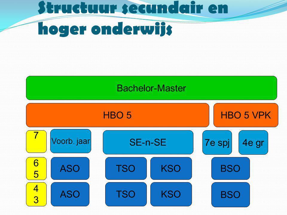 Structuur secundair en hoger onderwijs ASOTSOKSO BSO 4343 6565 ASOTSOKSOBSO 7 SE-n-SE 4e gr7e spj HBO 5HBO 5 VPK Bachelor-Master Voorb. jaar