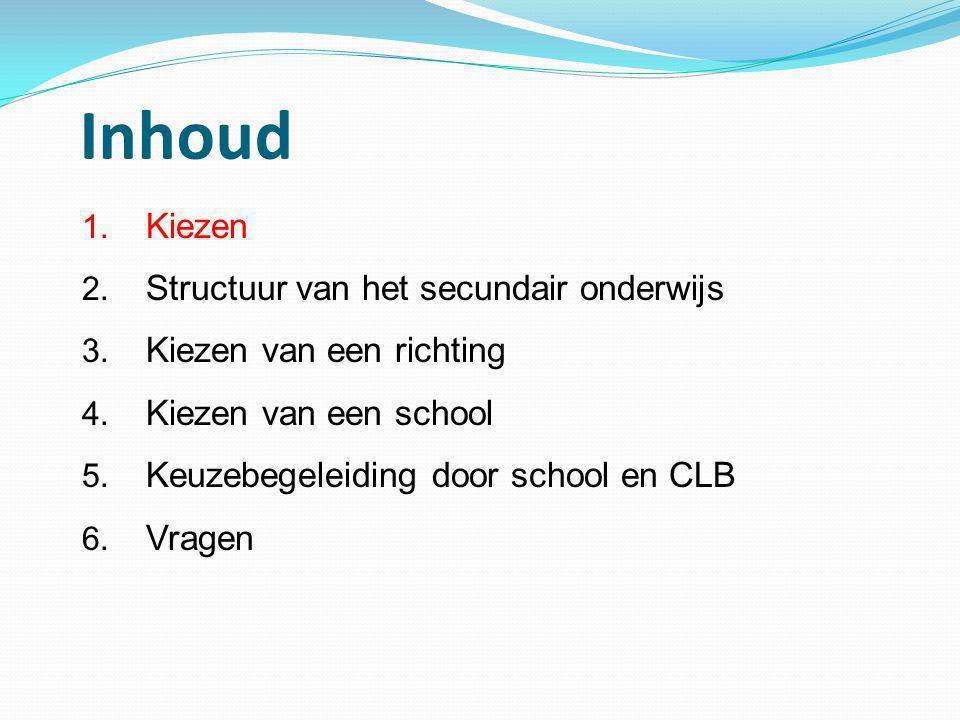 Inhoud 1. Kiezen 2. Structuur van het secundair onderwijs 3. Kiezen van een richting 4. Kiezen van een school 5. Keuzebegeleiding door school en CLB 6