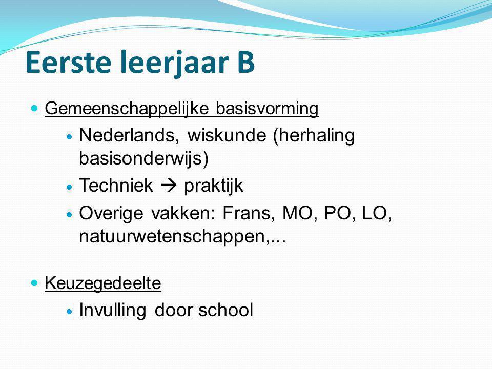 Eerste leerjaar B  Gemeenschappelijke basisvorming  Nederlands, wiskunde (herhaling basisonderwijs)  Techniek  praktijk  Overige vakken: Frans, M
