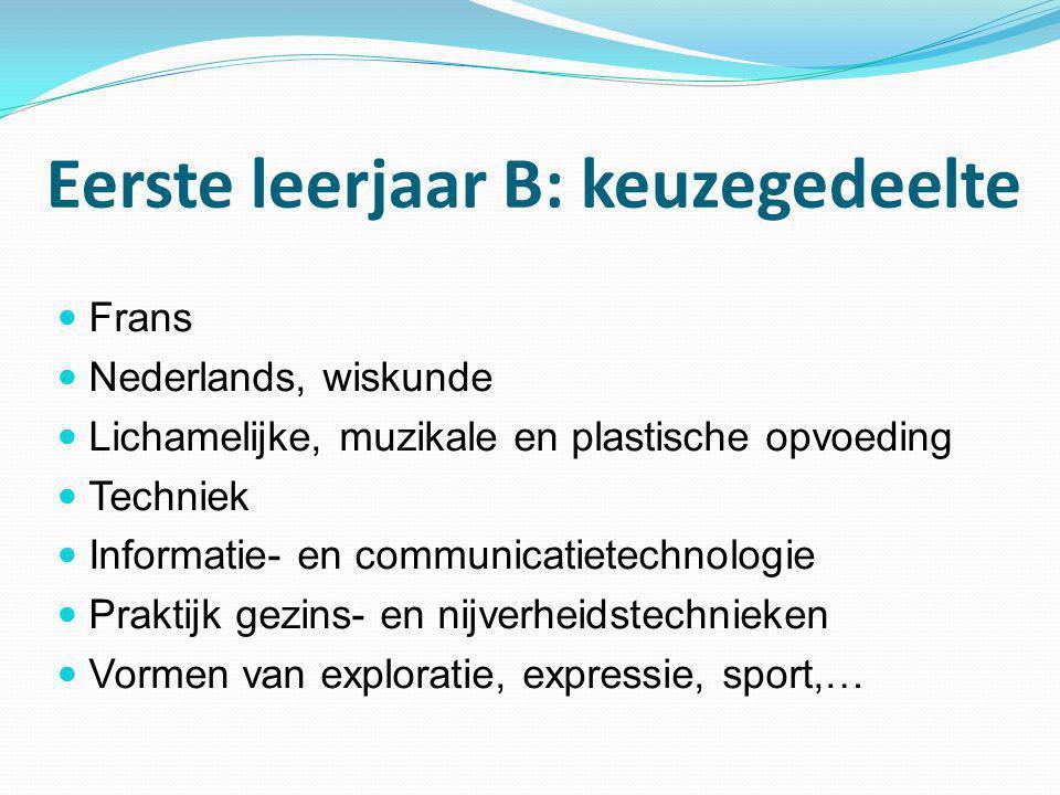 Eerste leerjaar B: keuzegedeelte  Frans  Nederlands, wiskunde  Lichamelijke, muzikale en plastische opvoeding  Techniek  Informatie- en communica