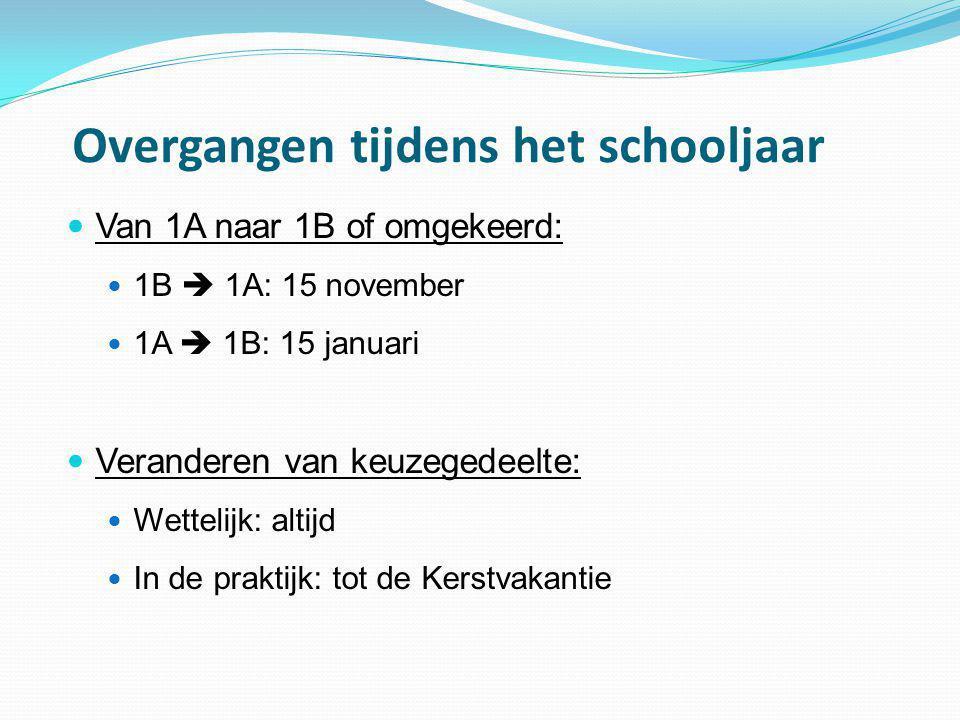 Overgangen tijdens het schooljaar  Van 1A naar 1B of omgekeerd:  1B  1A: 15 november  1A  1B: 15 januari  Veranderen van keuzegedeelte:  Wettel