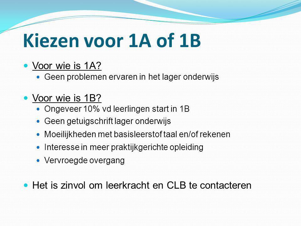 Kiezen voor 1A of 1B  Voor wie is 1A?  Geen problemen ervaren in het lager onderwijs  Voor wie is 1B?  Ongeveer 10% vd leerlingen start in 1B  Ge