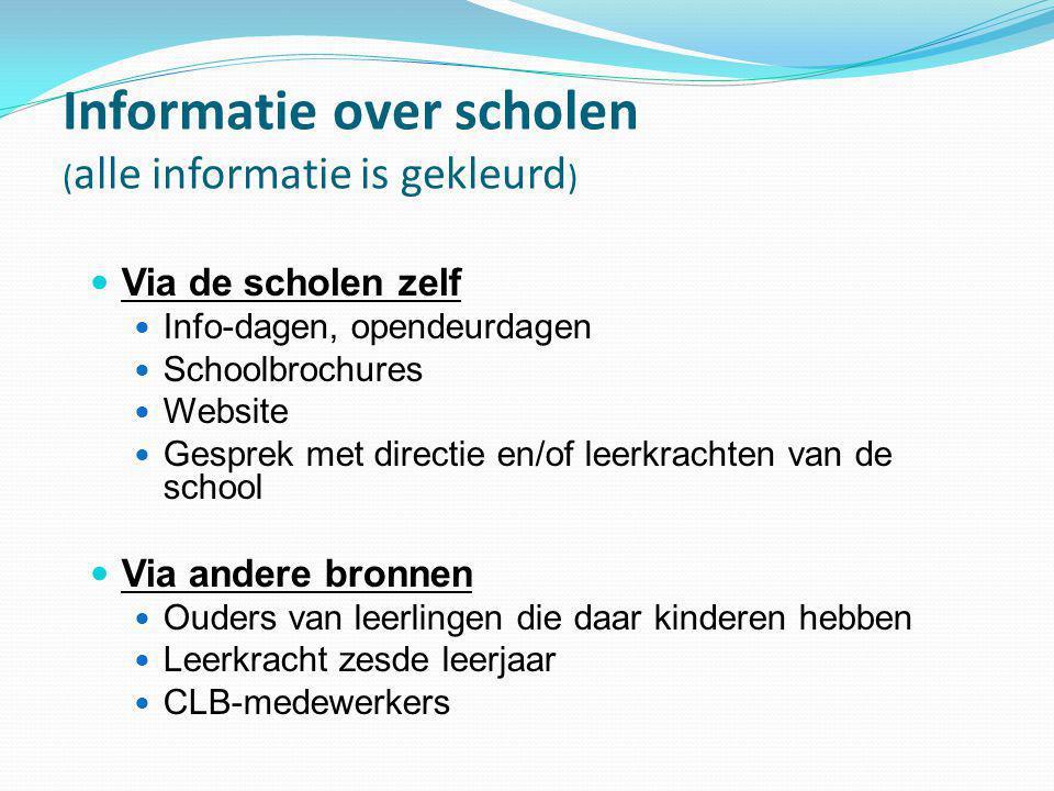 Informatie over scholen ( alle informatie is gekleurd )  Via de scholen zelf  Info-dagen, opendeurdagen  Schoolbrochures  Website  Gesprek met di