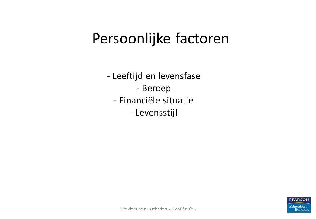 - Leeftijd en levensfase - Beroep - Financiële situatie - Levensstijl 14 Persoonlijke factoren Principes van marketing - Hoofdstuk 5