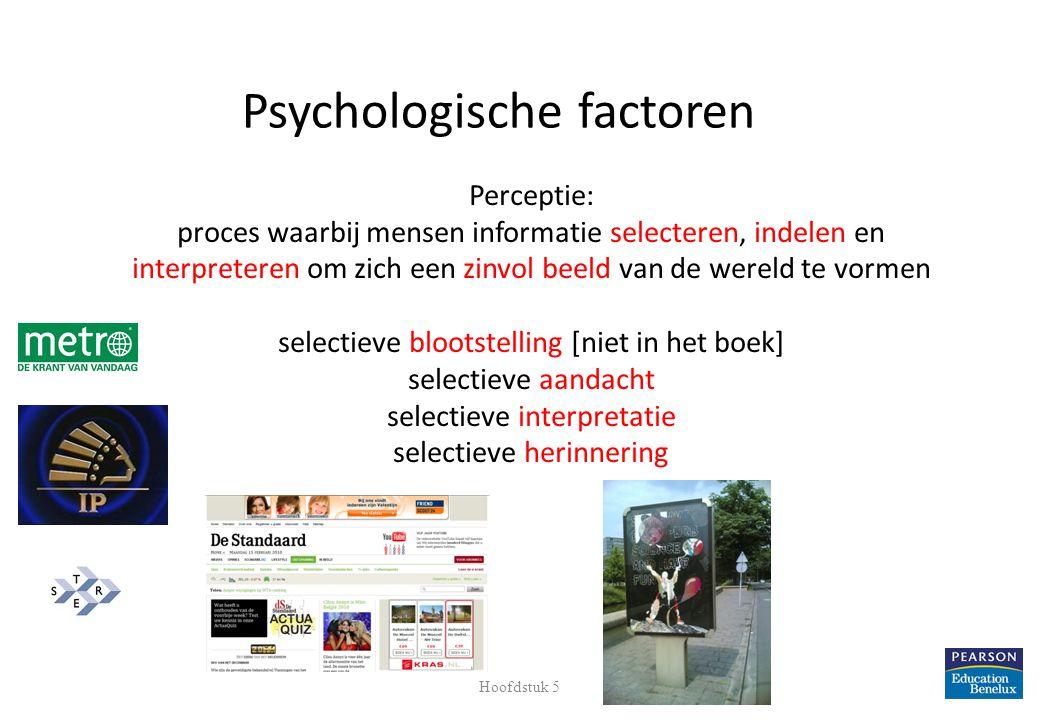 Perceptie: proces waarbij mensen informatie selecteren, indelen en interpreteren om zich een zinvol beeld van de wereld te vormen selectieve blootstel