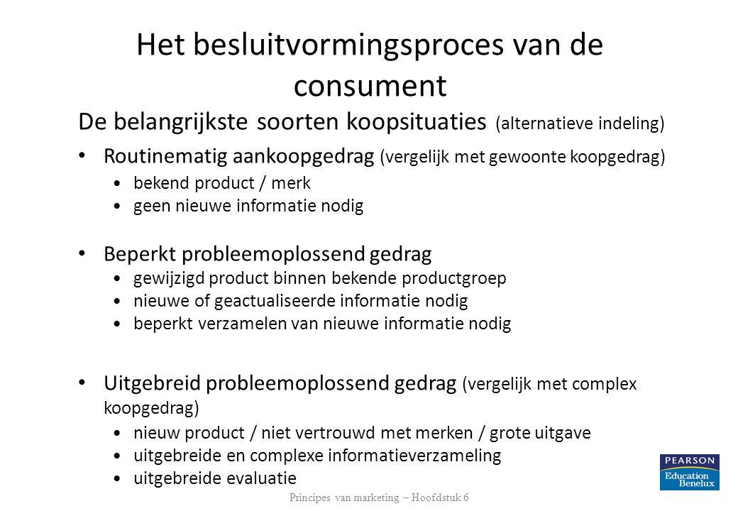 De belangrijkste soorten koopsituaties (alternatieve indeling) • Routinematig aankoopgedrag (vergelijk met gewoonte koopgedrag) •bekend product / merk