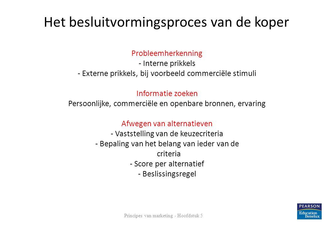 Probleemherkenning - Interne prikkels - Externe prikkels, bij voorbeeld commerciële stimuli Informatie zoeken Persoonlijke, commerciële en openbare br