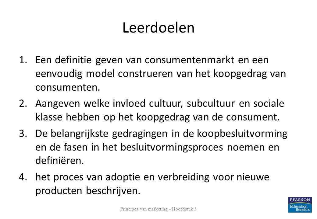 Leerdoelen 1.Een definitie geven van consumentenmarkt en een eenvoudig model construeren van het koopgedrag van consumenten. 2.Aangeven welke invloed