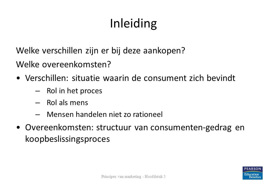 Inleiding Welke verschillen zijn er bij deze aankopen? Welke overeenkomsten? •Verschillen: situatie waarin de consument zich bevindt – Rol in het proc