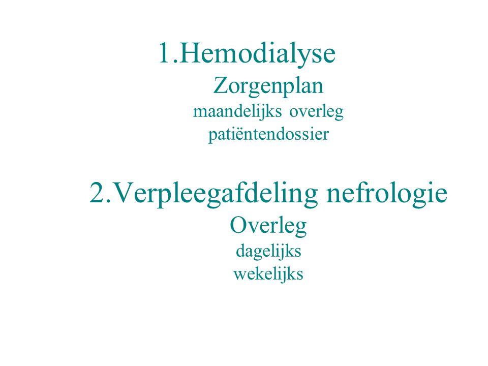 1.Hemodialyse Zorgenplan maandelijks overleg patiëntendossier 2.Verpleegafdeling nefrologie Overleg dagelijks wekelijks