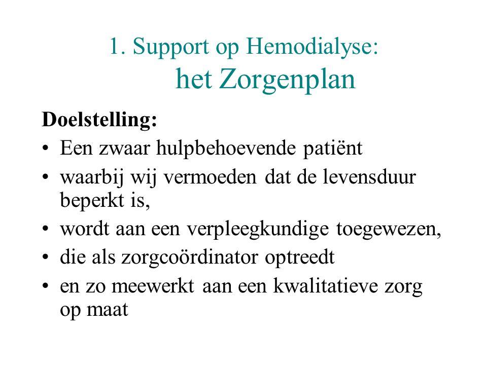 1. Support op Hemodialyse: het Zorgenplan Doelstelling: •Een zwaar hulpbehoevende patiënt •waarbij wij vermoeden dat de levensduur beperkt is, •wordt