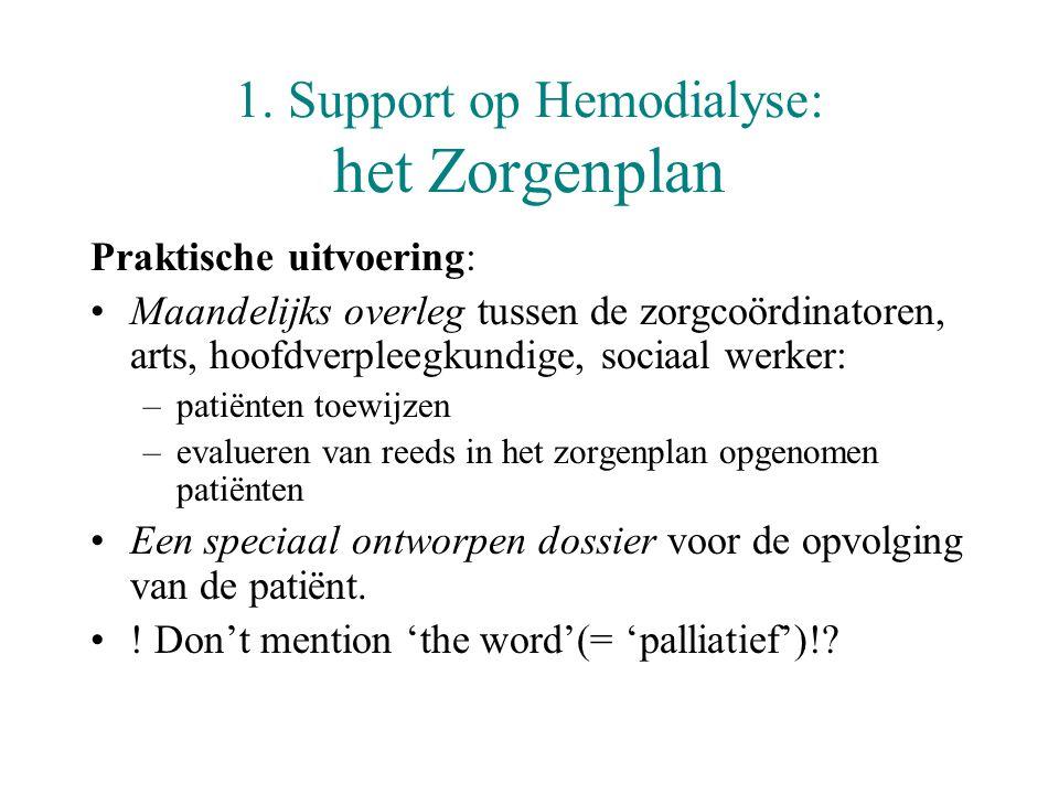 1. Support op Hemodialyse: het Zorgenplan Praktische uitvoering: •Maandelijks overleg tussen de zorgcoördinatoren, arts, hoofdverpleegkundige, sociaal
