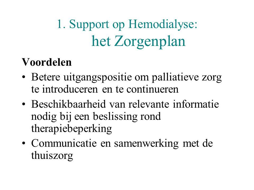 1. Support op Hemodialyse: het Zorgenplan Voordelen •Betere uitgangspositie om palliatieve zorg te introduceren en te continueren •Beschikbaarheid van