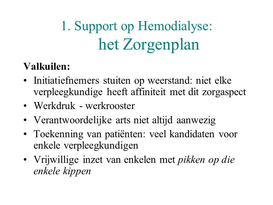 1. Support op Hemodialyse: het Zorgenplan Valkuilen: •Initiatiefnemers stuiten op weerstand: niet elke verpleegkundige heeft affiniteit met dit zorgas