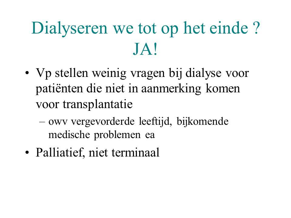 Dialyseren we tot op het einde ? JA! •Vp stellen weinig vragen bij dialyse voor patiënten die niet in aanmerking komen voor transplantatie –owv vergev