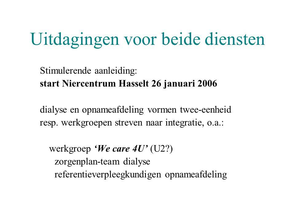 Uitdagingen voor beide diensten Stimulerende aanleiding: start Niercentrum Hasselt 26 januari 2006 dialyse en opnameafdeling vormen twee-eenheid resp.