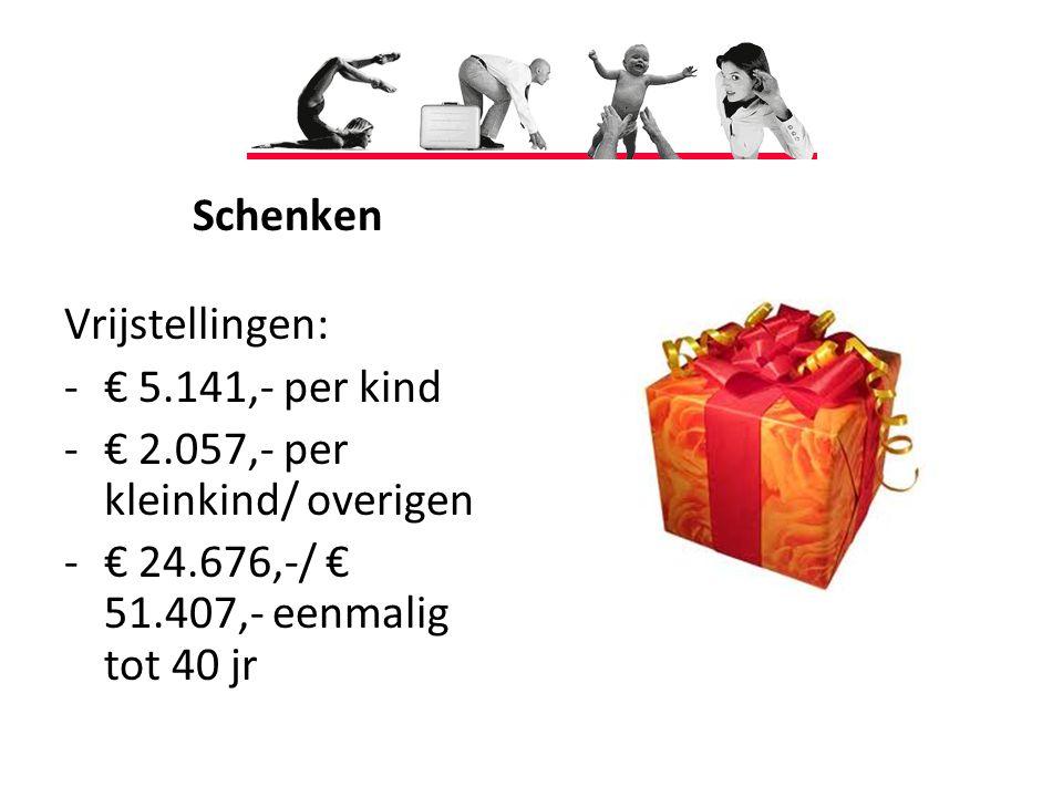 Schenken Vrijstellingen: -€ 5.141,- per kind -€ 2.057,- per kleinkind/ overigen -€ 24.676,-/ € 51.407,- eenmalig tot 40 jr