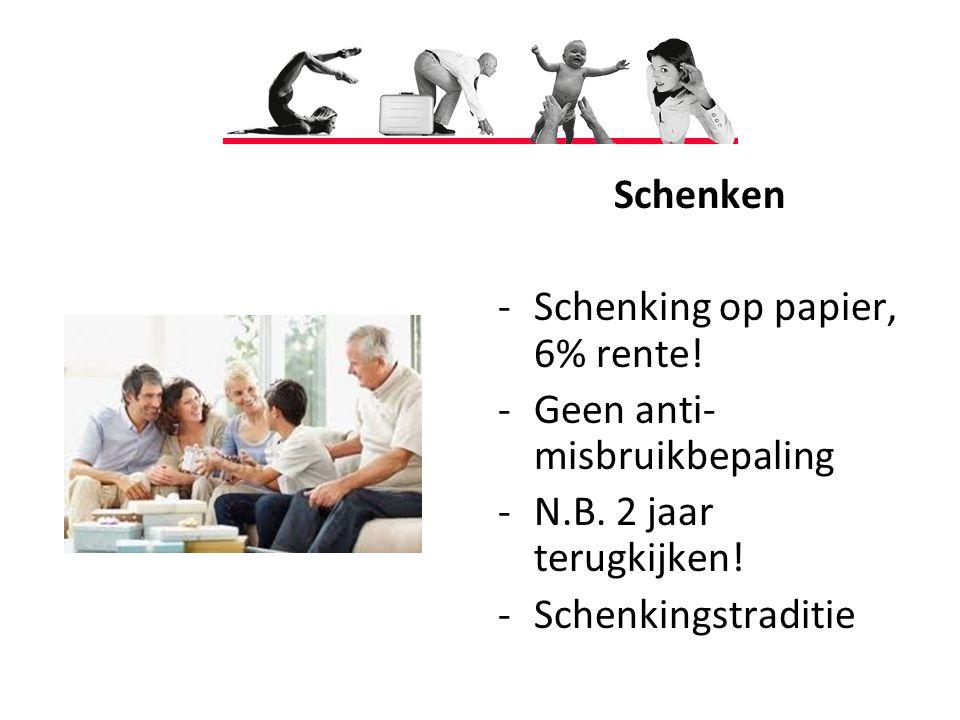 Schenken -Schenking op papier, 6% rente.-Geen anti- misbruikbepaling -N.B.