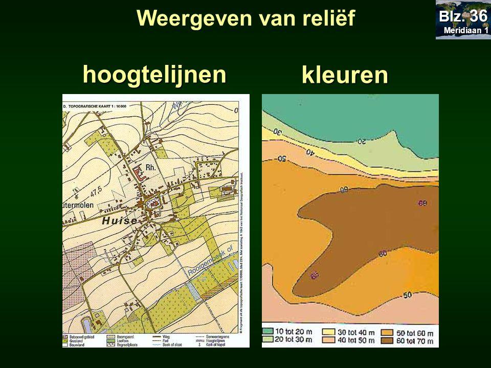 Weergeven van reliëf hoogtelijnenkleuren Meridiaan 1 Meridiaan 1 Blz. 36