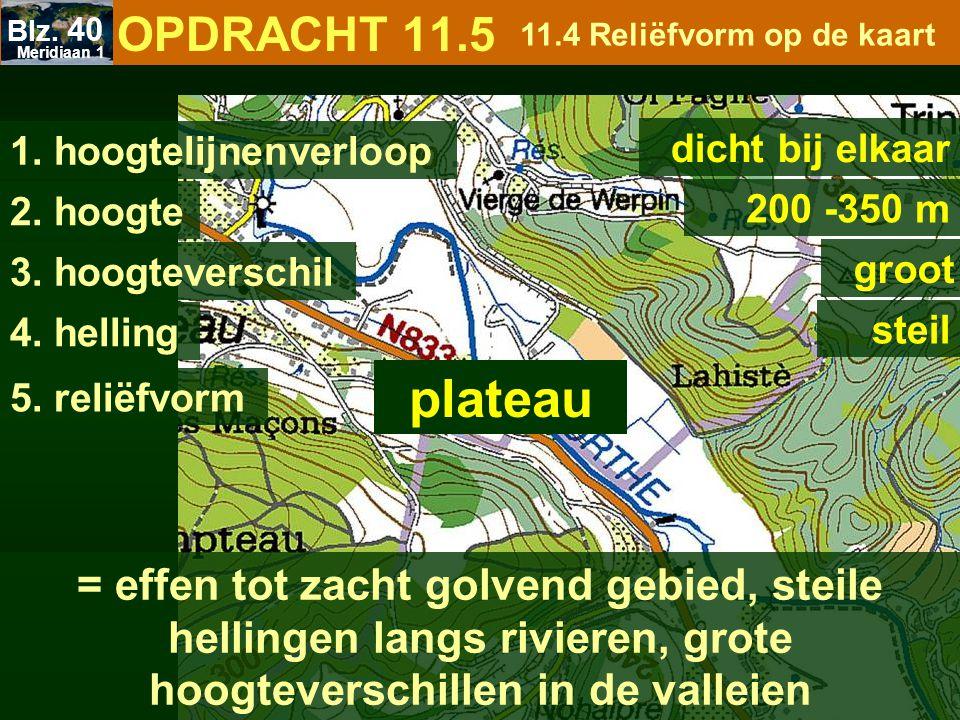 1. hoogtelijnenverloop dicht bij elkaar 2. hoogte 200 -350 m 3. hoogteverschil groot 4. helling steil = effen tot zacht golvend gebied, steile helling