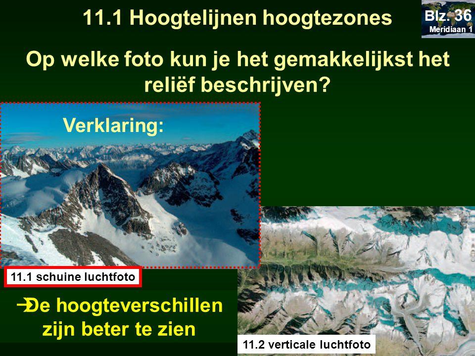 11.1 Hoogtelijnen hoogtezones Op welke foto kun je het gemakkelijkst het reliëf beschrijven? 11.1 schuine luchtfoto 11.2 verticale luchtfoto Verklarin