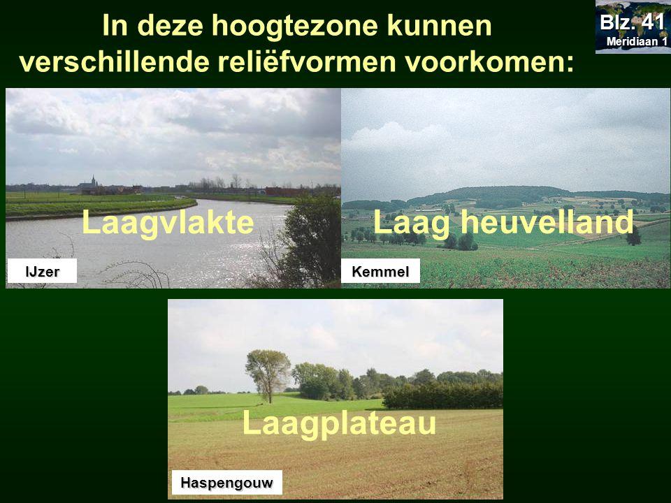 In deze hoogtezone kunnen verschillende reliëfvormen voorkomen: Laagvlakte Laag heuvelland Laagplateau IJzer Haspengouw Kemmel Meridiaan 1 Meridiaan 1
