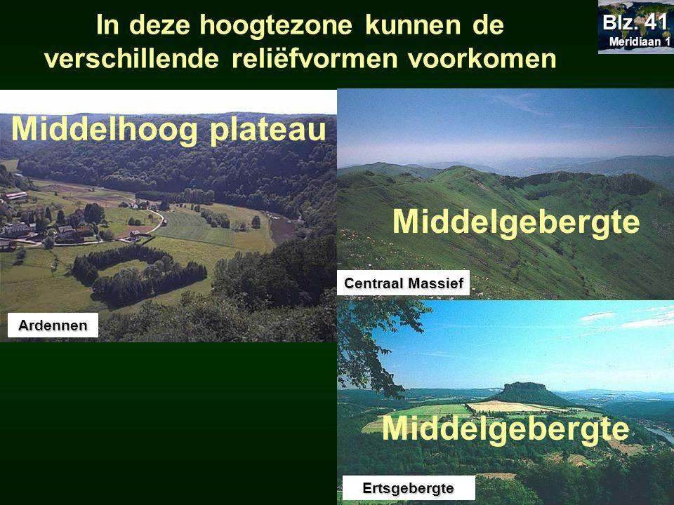 Middelhoog plateau Ardennen Kemmel Middelgebergte Centraal Massief Ertsgebergte Middelgebergte In deze hoogtezone kunnen de verschillende reliëfvormen