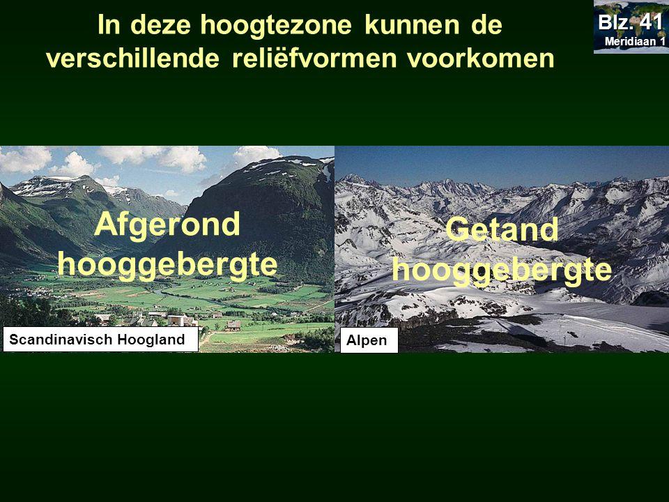 Scandinavisch Hoogland Getand hooggebergte Afgerond hooggebergte Alpen In deze hoogtezone kunnen de verschillende reliëfvormen voorkomen Meridiaan 1 M