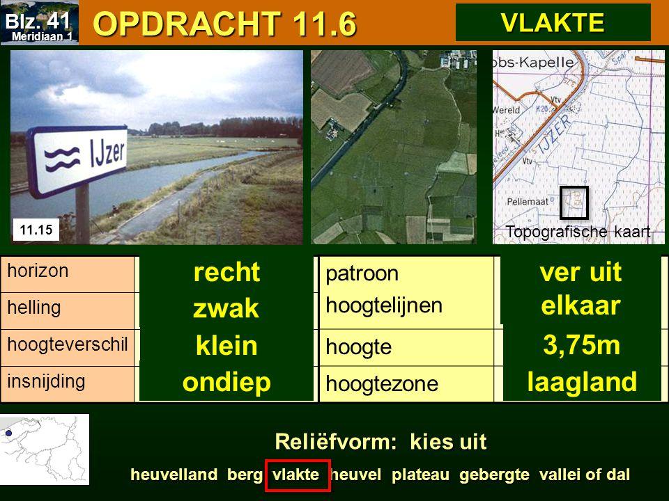 OPDRACHT 11.6 OPDRACHT 11.6 patroon hoogtelijnen hoogte hoogtezone Topografische kaart horizon helling hoogteverschil insnijding ver uit elkaar 3,75m