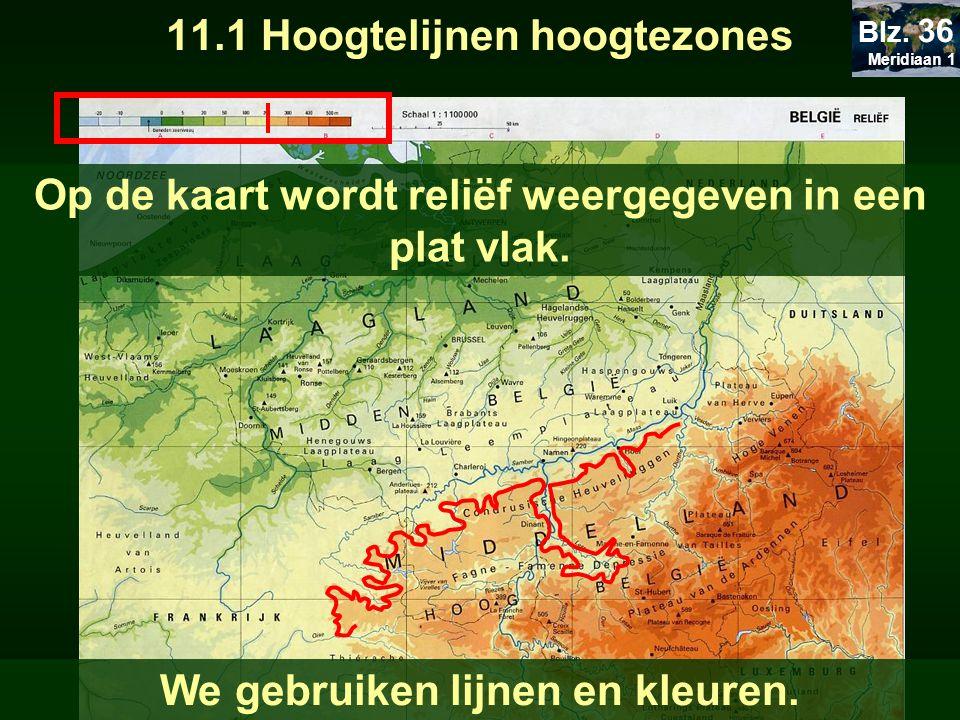 11.1 Hoogtelijnen hoogtezones Op de kaart wordt reliëf weergegeven in een plat vlak. We gebruiken lijnen en kleuren. Meridiaan 1 Blz. 36