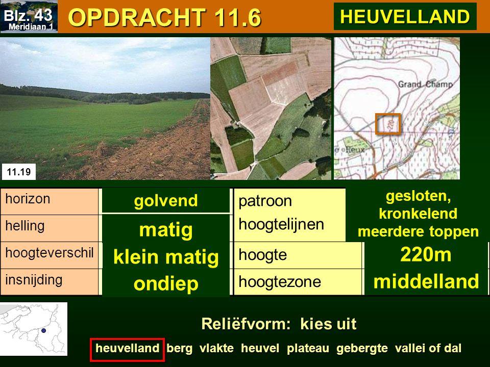 OPDRACHT 11.6 OPDRACHT 11.6 11.19 patroon hoogtelijnen hoogte hoogtezone horizon helling hoogteverschil insnijding gesloten, kronkelend meerdere toppe