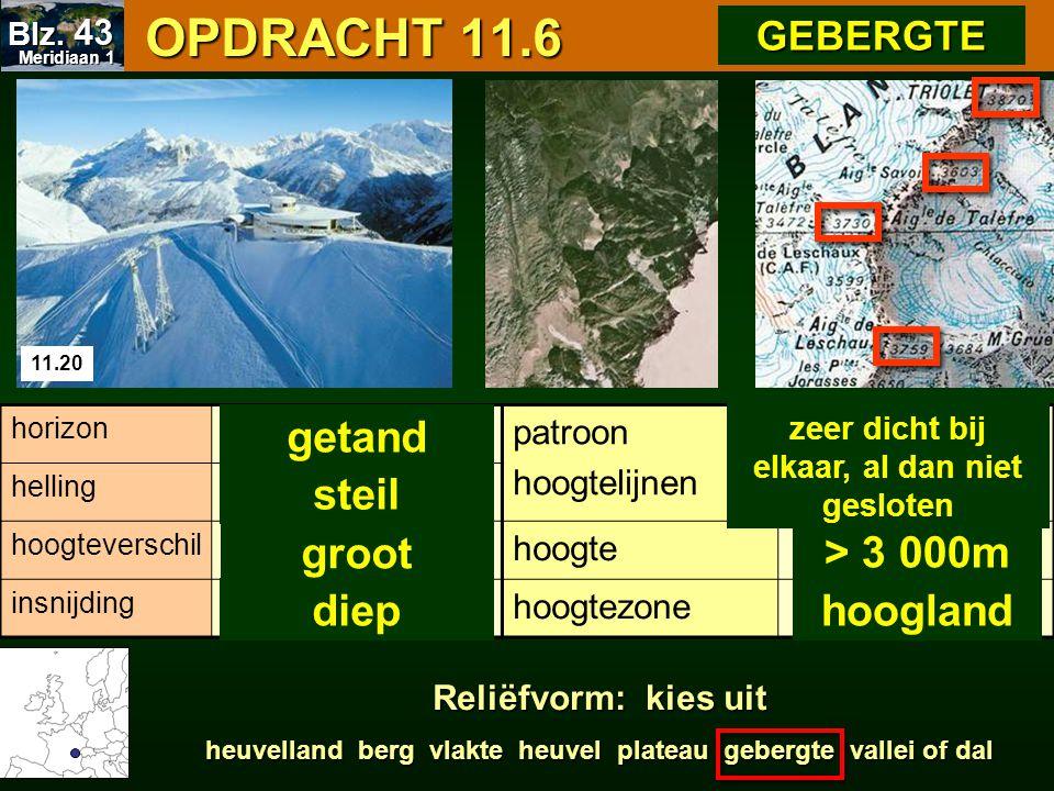 OPDRACHT 11.6 OPDRACHT 11.6 11.20 patroon hoogtelijnen hoogte hoogtezone horizon helling hoogteverschil insnijding > 3 000m hoogland getand steil groo