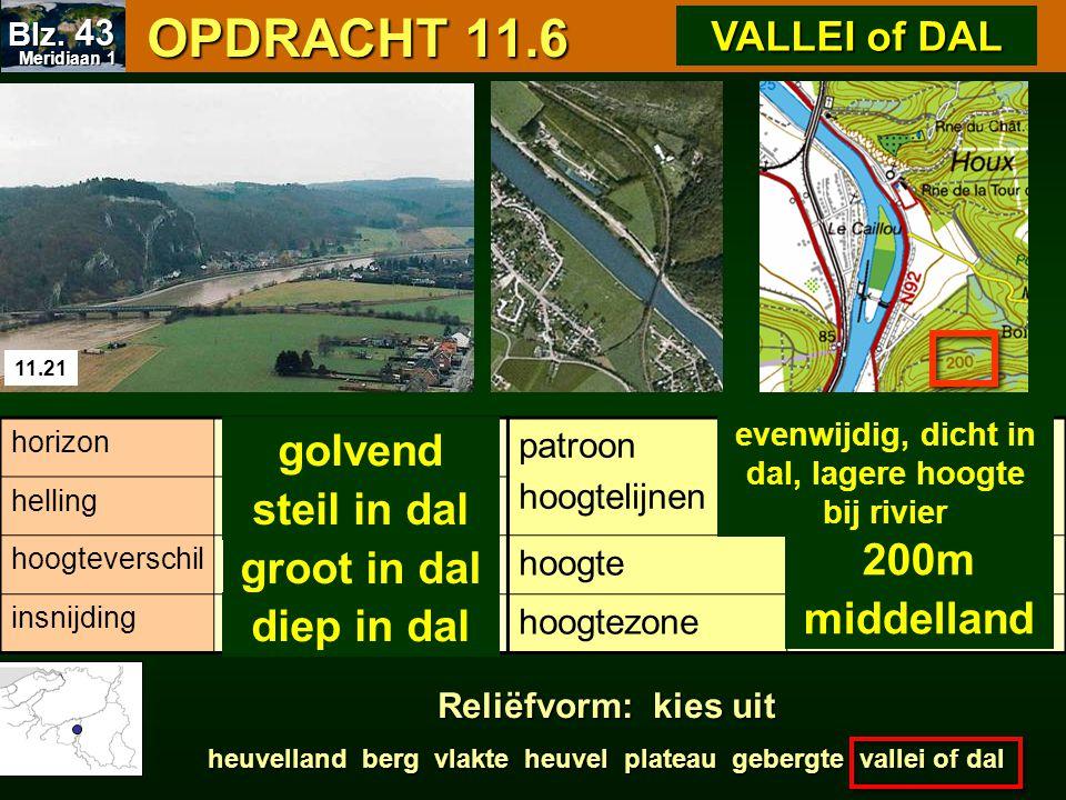 OPDRACHT 11.6 OPDRACHT 11.6 11.21 patroon hoogtelijnen hoogte hoogtezone horizon helling hoogteverschil insnijding 200m middelland golvend steil in da