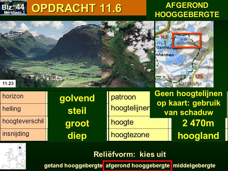 OPDRACHT 11.6 OPDRACHT 11.6 11.23 patroon hoogtelijnen hoogte hoogtezone horizon helling hoogteverschil insnijding Geen hoogtelijnen op kaart: gebruik