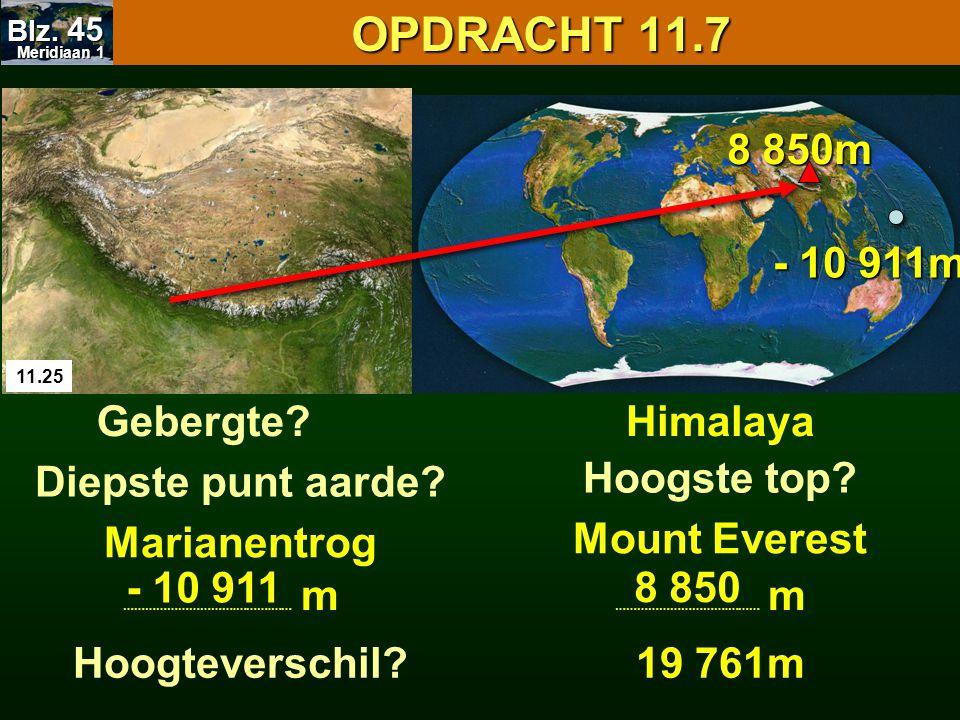 OPDRACHT 11.7 OPDRACHT 11.7 11.25 Gebergte?Himalaya Hoogste top? Mount Everest Diepste punt aarde? Marianentrog - 10 911m 8 850m Hoogteverschil? Merid