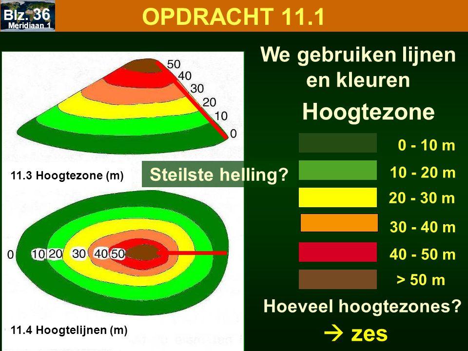 OPDRACHT 11.1 Hoogtezone 0 - 10 m 10 - 20 m 20 - 30 m 40 - 50 m > 50 m Hoeveel hoogtezones? 30 - 40 m  zes We gebruiken lijnen en kleuren 11.3 Hoogte