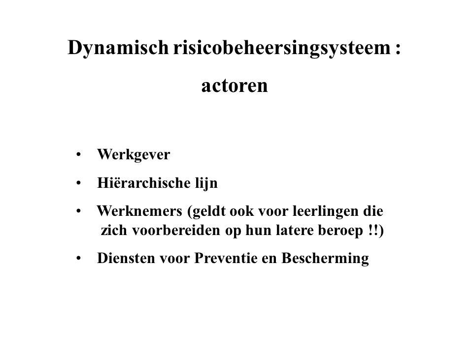 Dynamisch risicobeheersingsysteem : actoren • Werkgever • Hiërarchische lijn • Werknemers (geldt ook voor leerlingen die zich voorbereiden op hun latere beroep !!) • Diensten voor Preventie en Bescherming