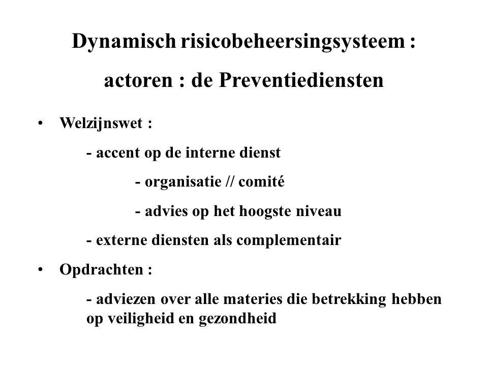 Dynamisch risicobeheersingsysteem : actoren : de Preventiediensten • Welzijnswet : - accent op de interne dienst - organisatie // comité - advies op het hoogste niveau - externe diensten als complementair • Opdrachten : - adviezen over alle materies die betrekking hebben op veiligheid en gezondheid