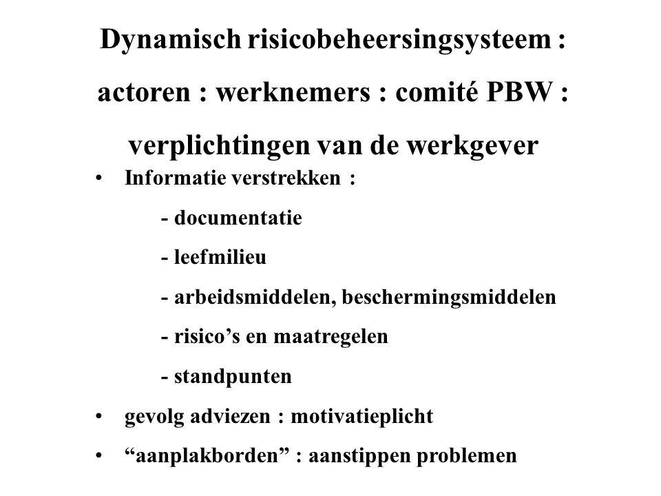 Dynamisch risicobeheersingsysteem : actoren : werknemers : comité PBW : verplichtingen van de werkgever • Informatie verstrekken : - documentatie - leefmilieu - arbeidsmiddelen, beschermingsmiddelen - risico's en maatregelen - standpunten • gevolg adviezen : motivatieplicht • aanplakborden : aanstippen problemen