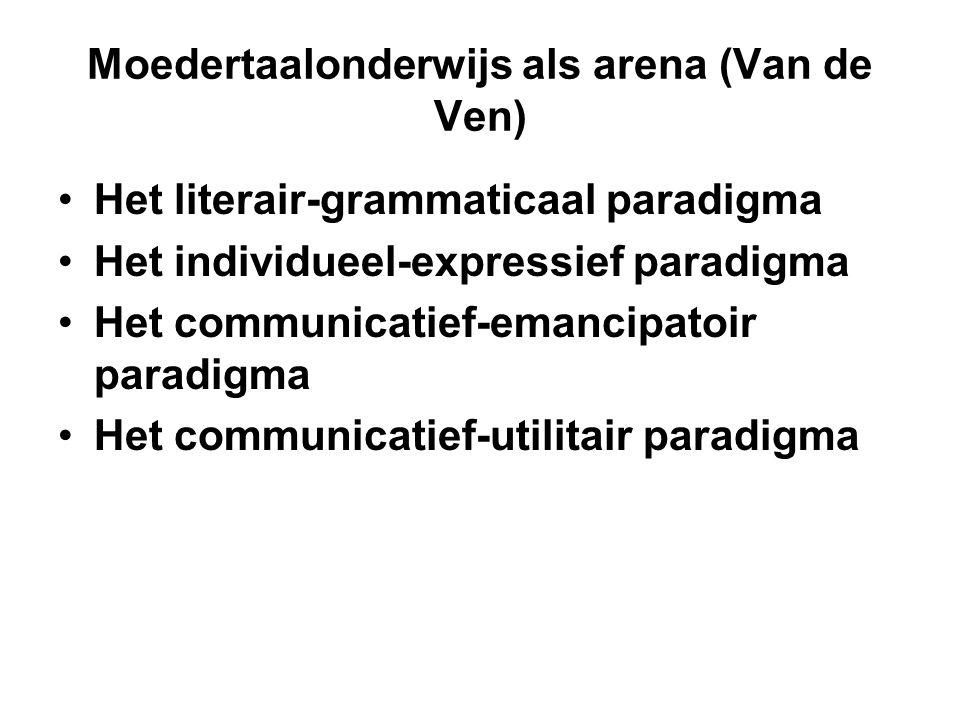 Moedertaalonderwijs als arena (Van de Ven) •Het literair-grammaticaal paradigma •Het individueel-expressief paradigma •Het communicatief-emancipatoir