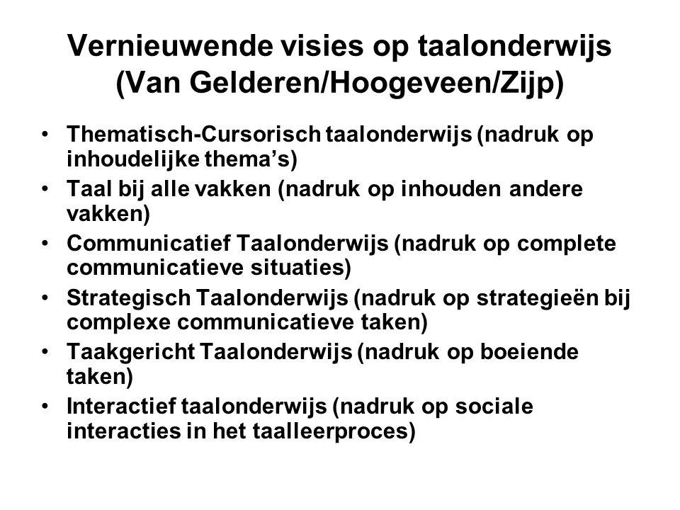 Vernieuwende visies op taalonderwijs (Van Gelderen/Hoogeveen/Zijp) •Thematisch-Cursorisch taalonderwijs (nadruk op inhoudelijke thema's) •Taal bij all